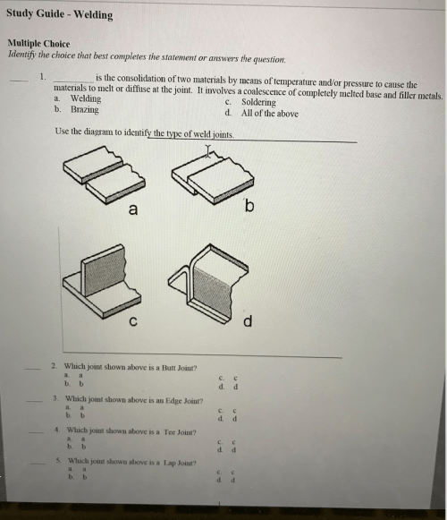 small resolution of study guide welding multiple choice identify the choice that best completes the statement or answers