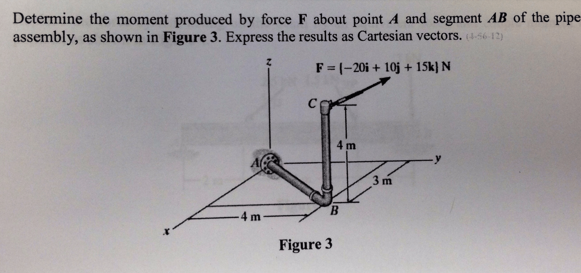 hight resolution of question determine the moment produced by force f about point a and segment ab of the pipe assembly as sh