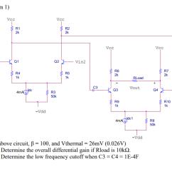 problem 1 r1 2k r2 2k vcc vcc q1 q2 vin2 vinl r6 2k r7 [ 1024 x 788 Pixel ]