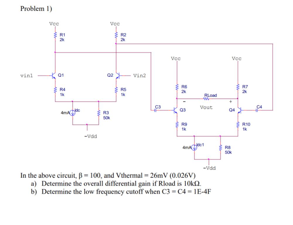medium resolution of problem 1 r1 2k r2 2k vcc vcc q1 q2 vin2 vinl r6 2k r7