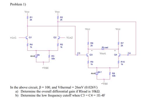 small resolution of problem 1 r1 2k r2 2k vcc vcc q1 q2 vin2 vinl r6 2k r7
