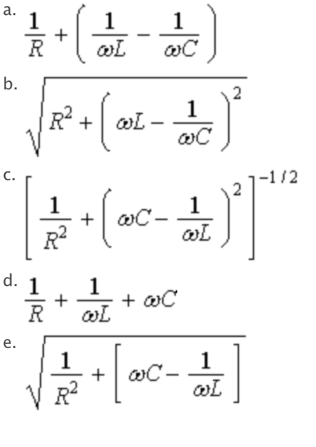 Solved: The Impedance Of The Parallel RLC Circuit Shown Is