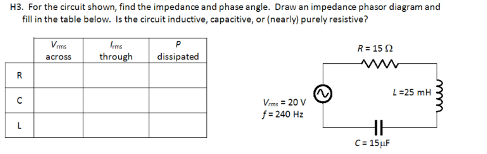 medium resolution of for the circuit shown find the impedance and phas
