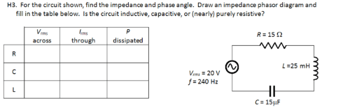 small resolution of for the circuit shown find the impedance and phas