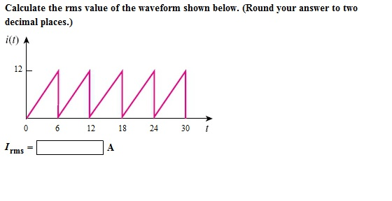 Solved: Calculate The Rms Value Of The Waveform Shown Belo