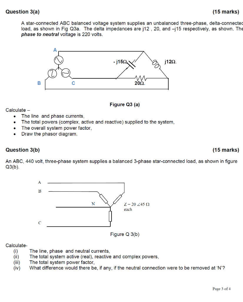 medium resolution of question 3 a 15 marks a star connected abc balanced voltage