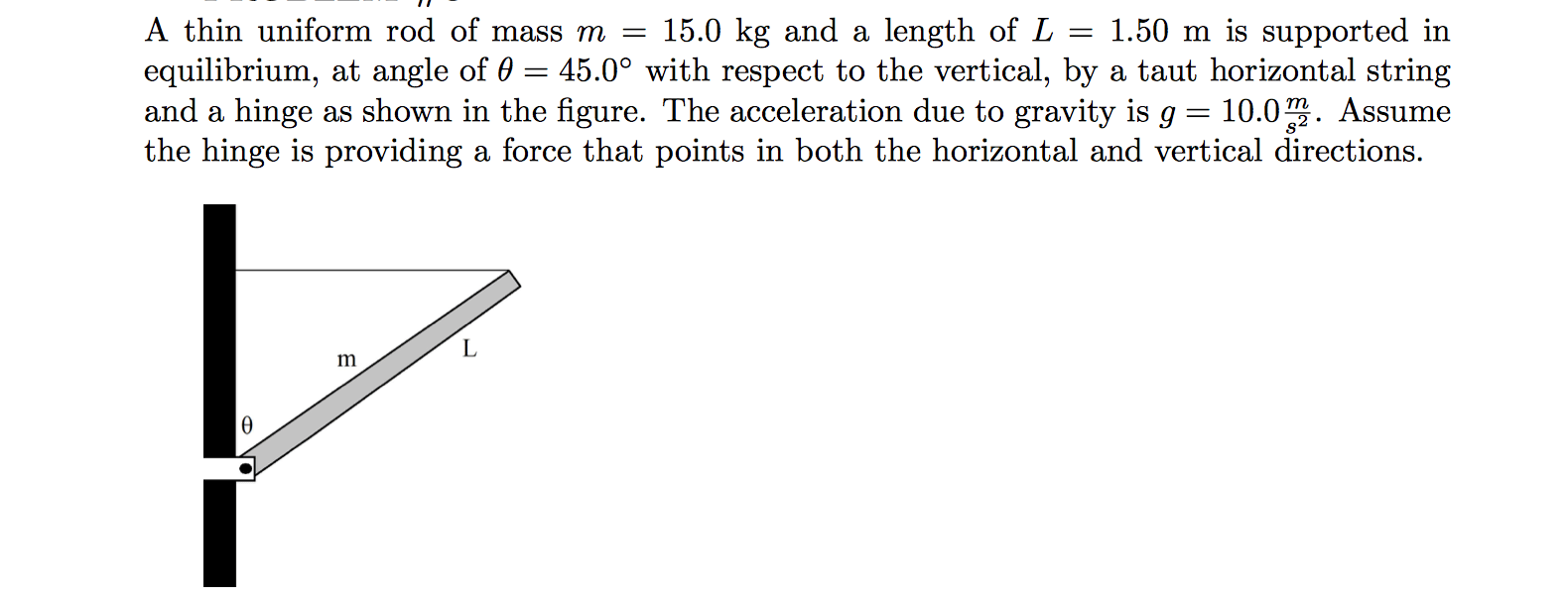hight resolution of a thin uniform rod of mass m 15 0 kg and a length of l