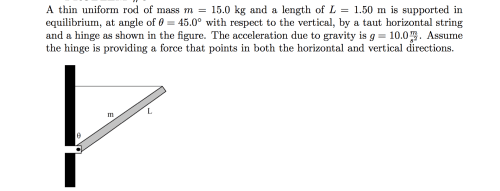 small resolution of a thin uniform rod of mass m 15 0 kg and a length of l