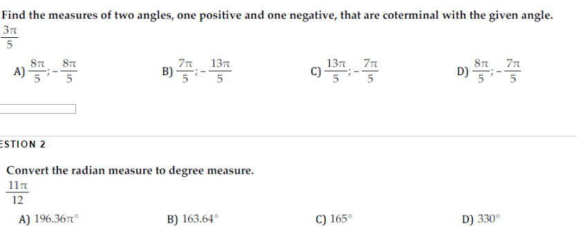 Solved: Find The Measures Of Two Angles, One Positive And