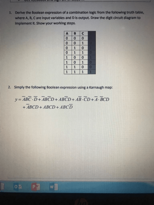 small resolution of derive the boolean expression of a comblnation logic from the following truth table where a