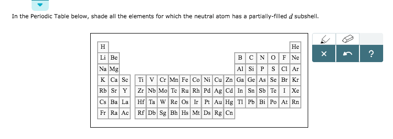 Solved: In The Periodic Table Below, Shade All The Element