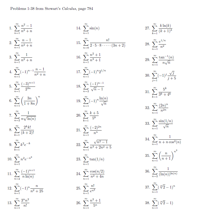 Solved: Problems 1-38 From Stewart's Calculus, Page 784 Si