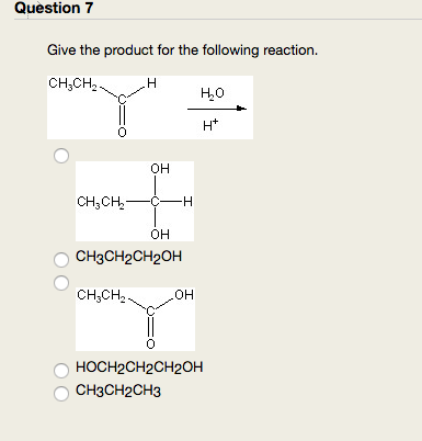 Solved: Question 7 Give The Product For The Following Reac