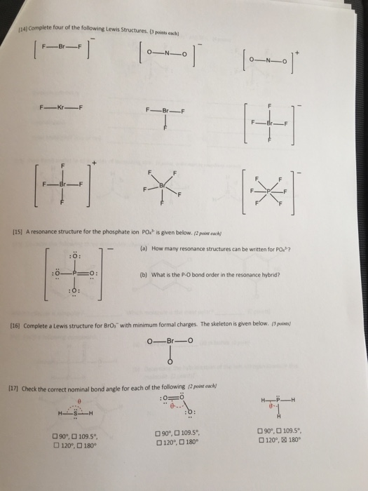 Lewis Structure For Bro- : lewis, structure, Solved:, Complete, Following, Lewis, Structures., Chegg.com