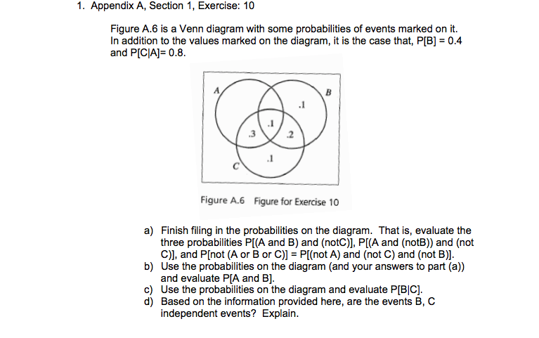 venn diagram problems with answers oma is a some probabilities of event chegg com