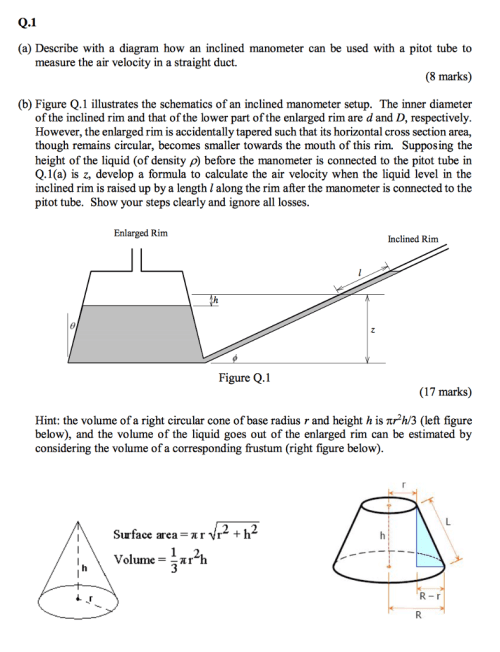 small resolution of q 1 a describe with a diagram how an inclined manometer can be