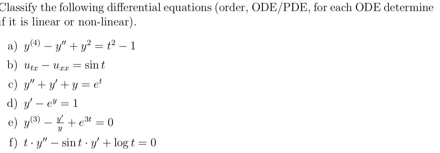 Solved: Classify The Following Differential Equations (ord