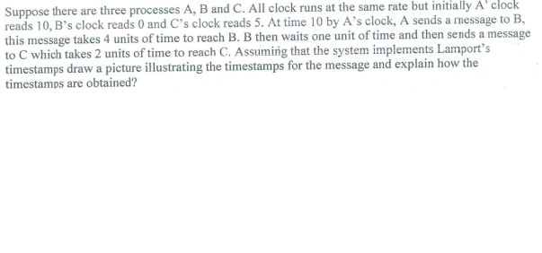 Suppose there are three processes A, B and C. All