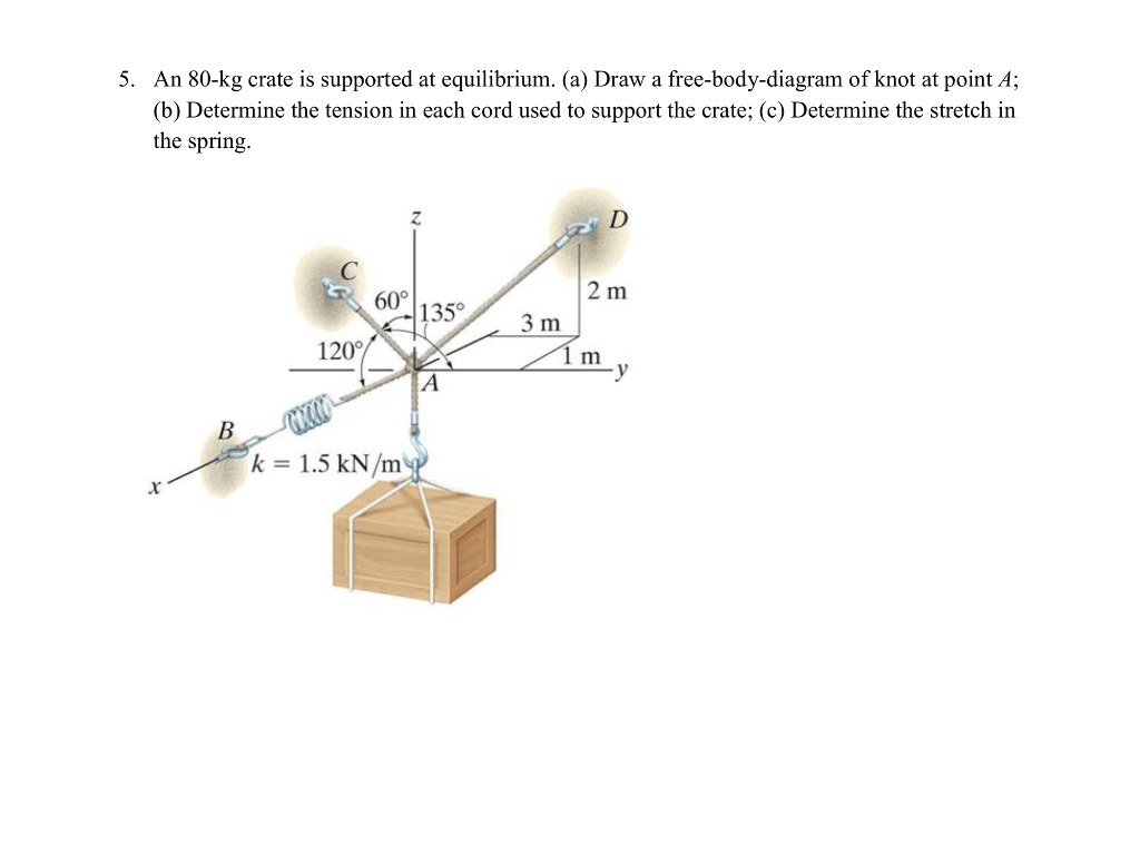 hight resolution of question an 80 kg crate is supported at equilibrium a draw a free body diagram of knot at point a dete
