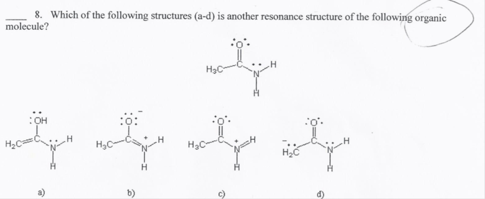 Solved: Which Of The Following Structures (a-d) Is Another