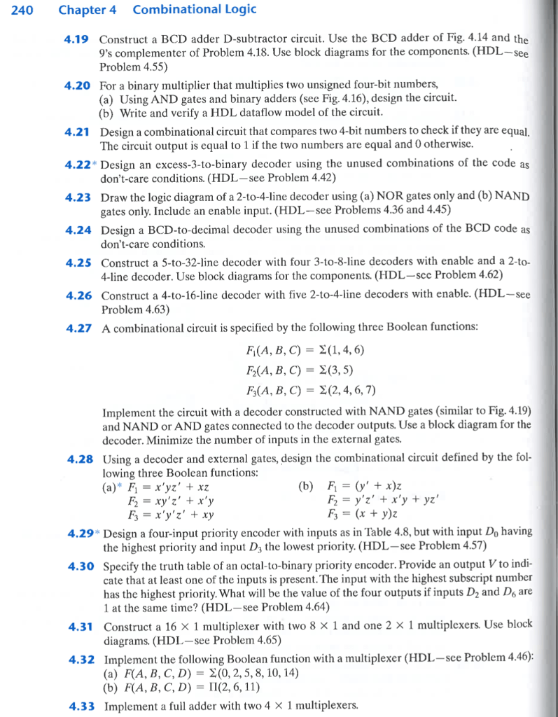 medium resolution of 240 chapter 4 combinational logic 4 19 construct a bcd adder d subtractor circuit use