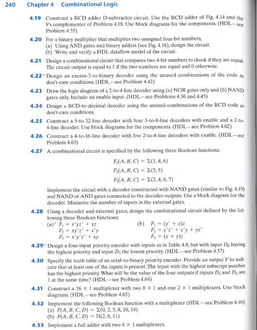 small resolution of 240 chapter 4 combinational logic 4 19 construct a bcd adder d subtractor circuit use