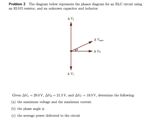 small resolution of problem 2 the diagram below represents the phasor diagram for an rlc circuit using an 82 0