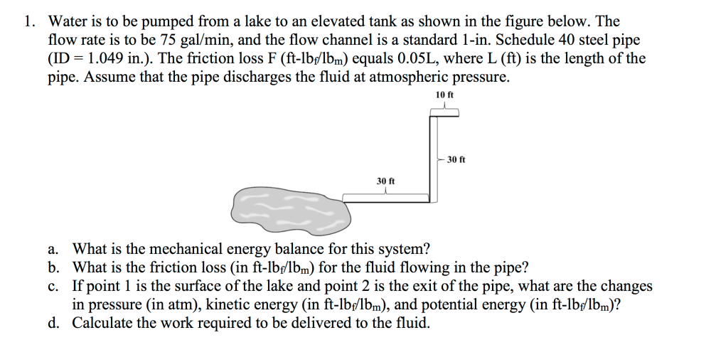 medium resolution of water is to be pumped from a lake to an elevated t