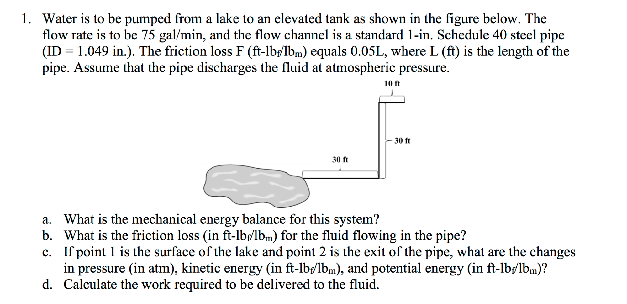 hight resolution of water is to be pumped from a lake to an elevated t