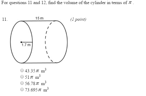 Solved: For Questions 11 And 12, Find The Volume Of The Cy