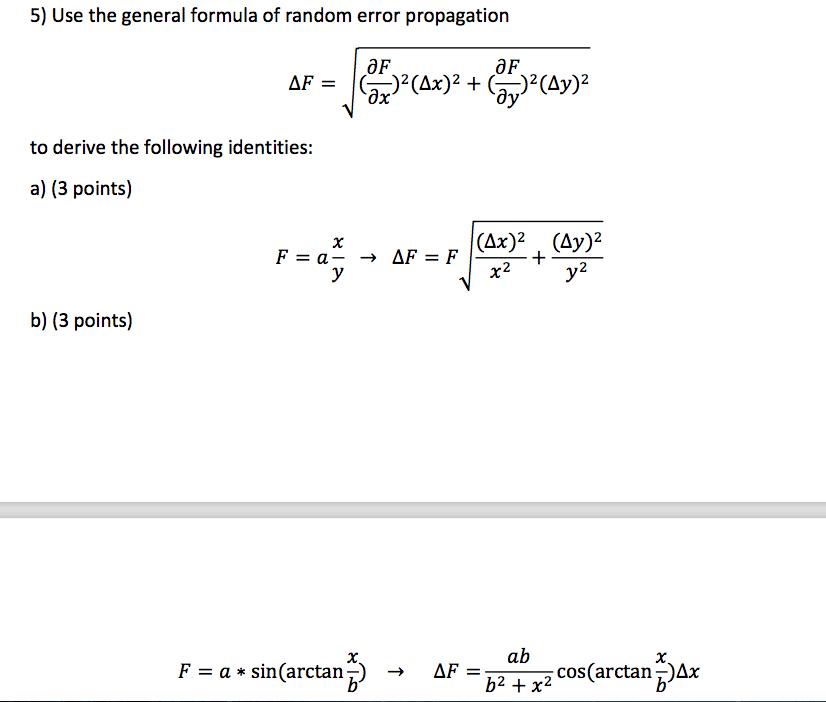 Formula Error Propagation