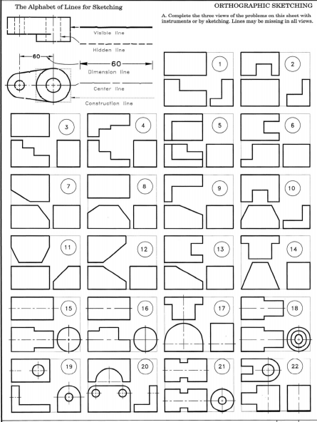 Solved: The Alphabet Of Lines For Sketching SKETCHING A. C
