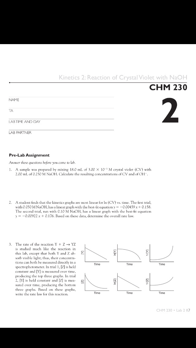 Solved: Kinetics 2: Reaction Of Crystal Violet With NaOH C