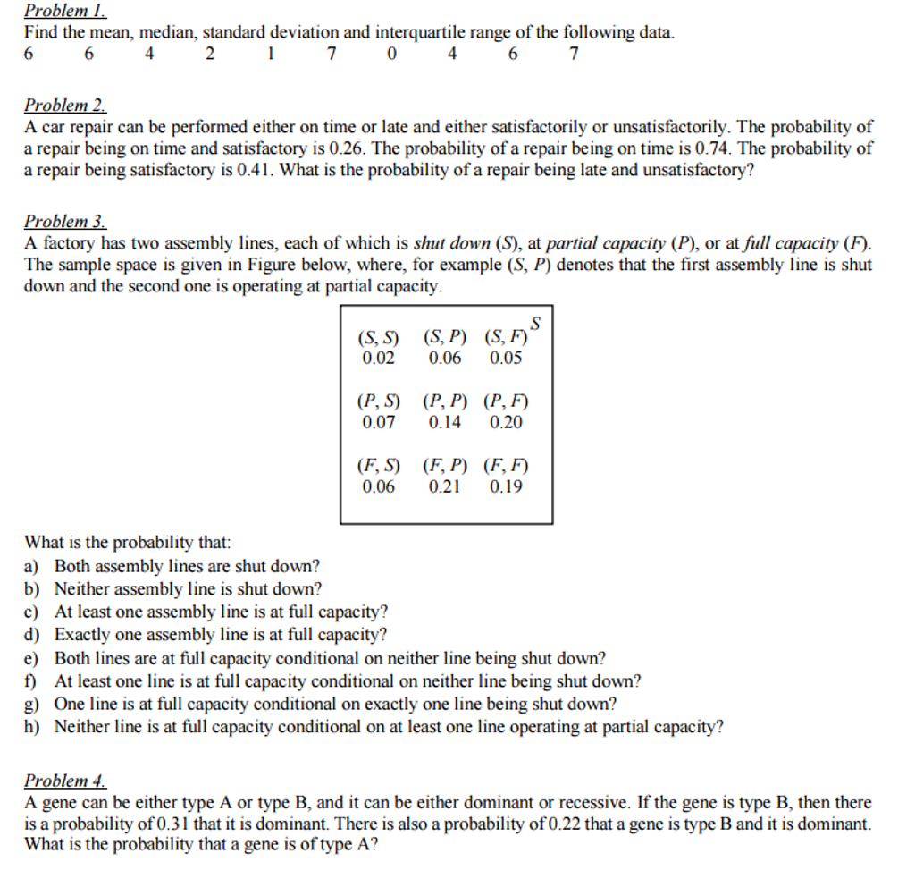 Solved Find The Mean Median Standard Deviation And Inte
