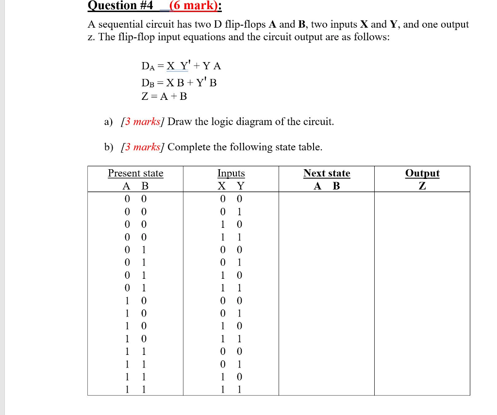 hight resolution of question 4 6 mark a sequential circuit has two d flip