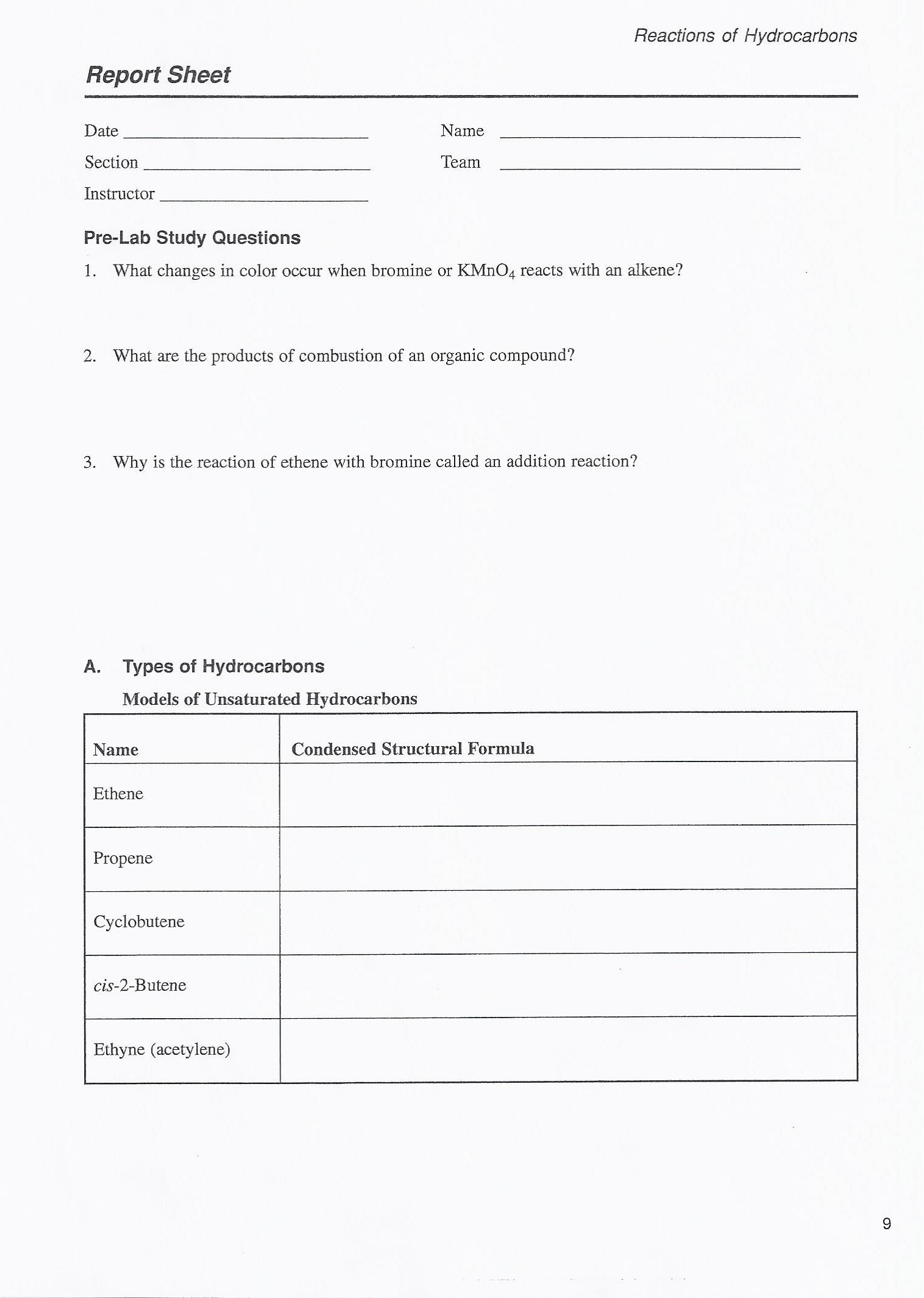 Solved Reactions Of Hydrocarbons Report Sheet Date Name S