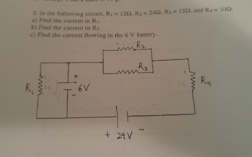 small resolution of find the current in r1 r2 and the 6 volt battery