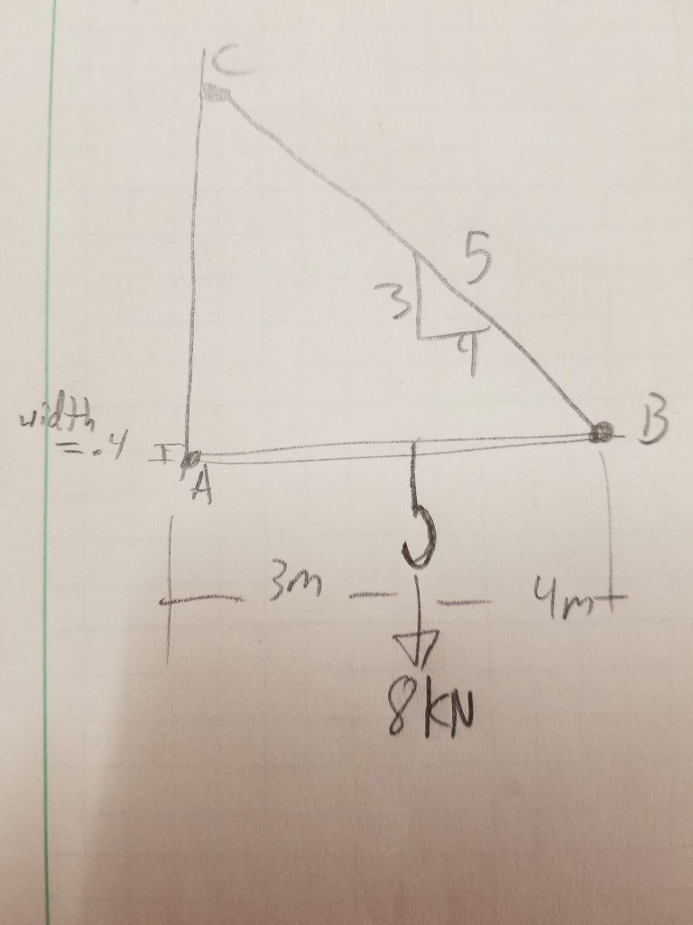 medium resolution of draw a free body diagram of the jib crane ab which is pin connected at a and supported by member bc determine the reaction in member bc