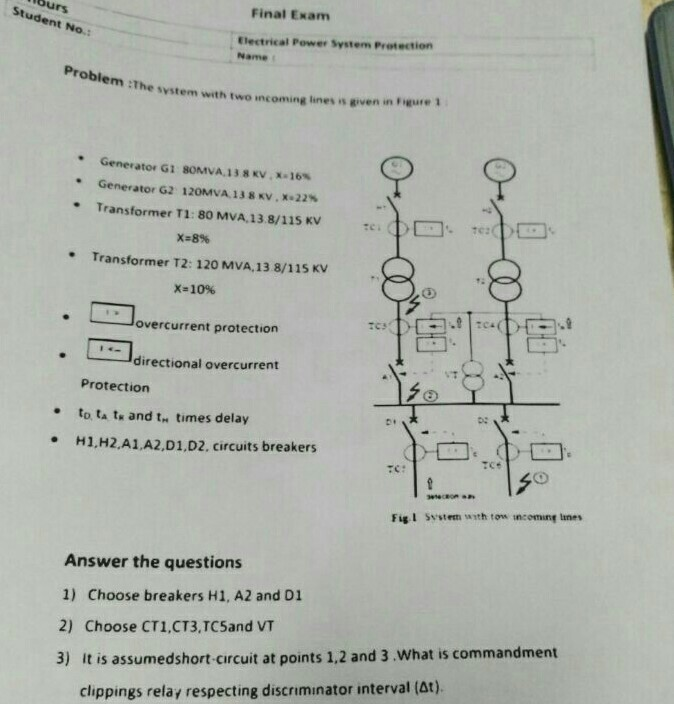 Final Exam Student No.: Electrical Power System Pr