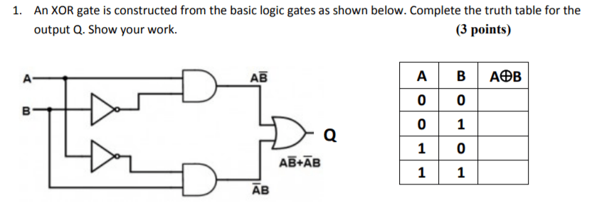 Solved: An XOR Gate Is Constructed From The Basic Logic Ga