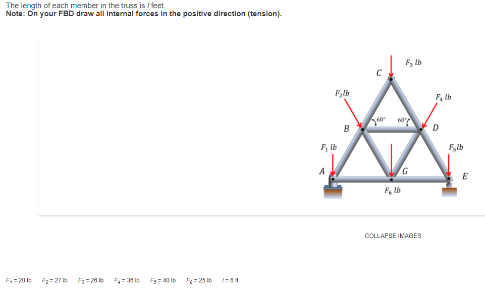 Solved: The Length Of Each Member In The Truss Is L Feet