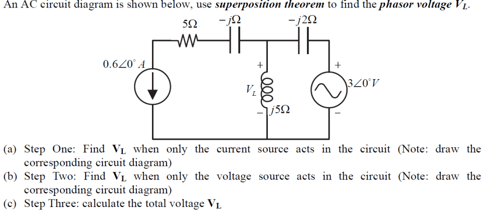 medium resolution of an ac circuit diagram is shown below use superpos