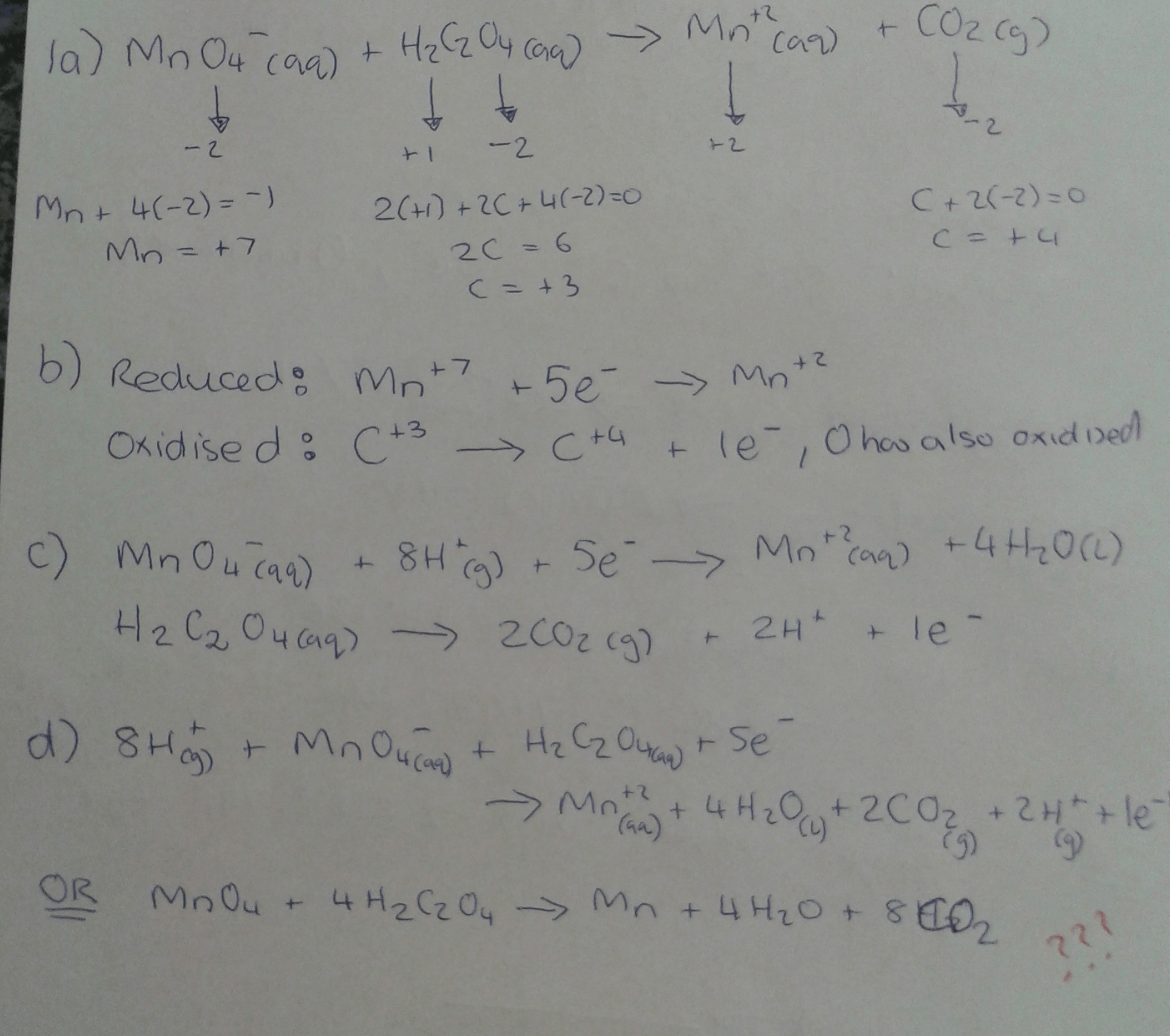 Solved The Following Redox Reaction Occurs In Acidic Aque