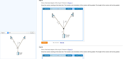 small resolution of part a draw a free body diagram of the ring at a shown in