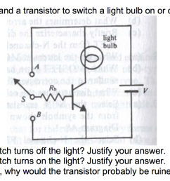 question the circuit below uses a switch and a transistor to switch a light bulb on or off which setting  [ 2316 x 896 Pixel ]