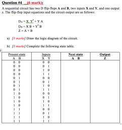 question 4 6 mark a sequential circuit has two d flip  [ 1024 x 1012 Pixel ]