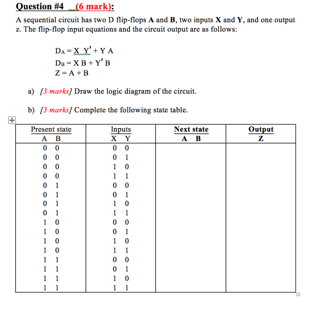 medium resolution of question 4 6 mark a sequential circuit has two d flip