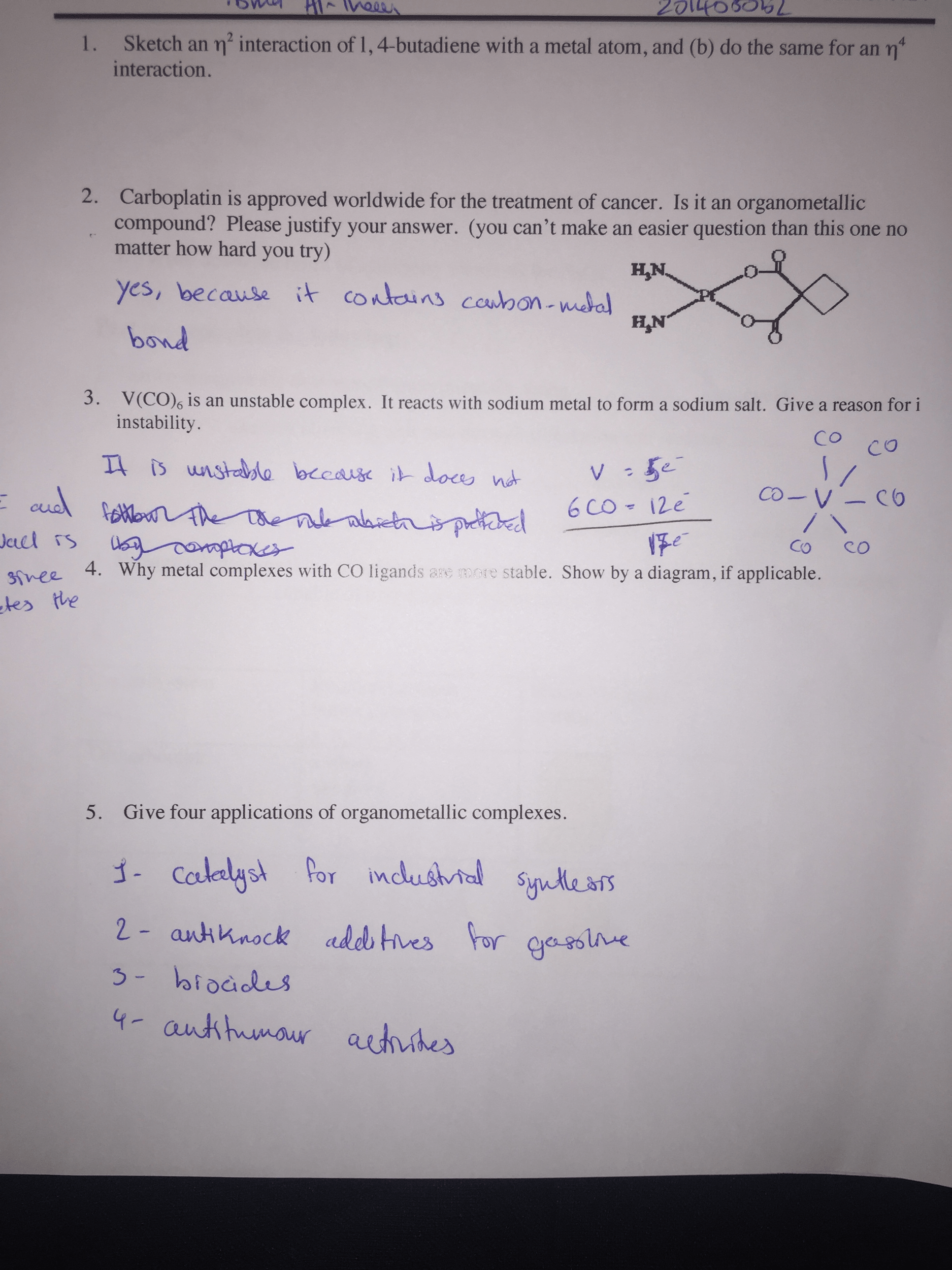 Solved Inorganic Chemistry Worksheet