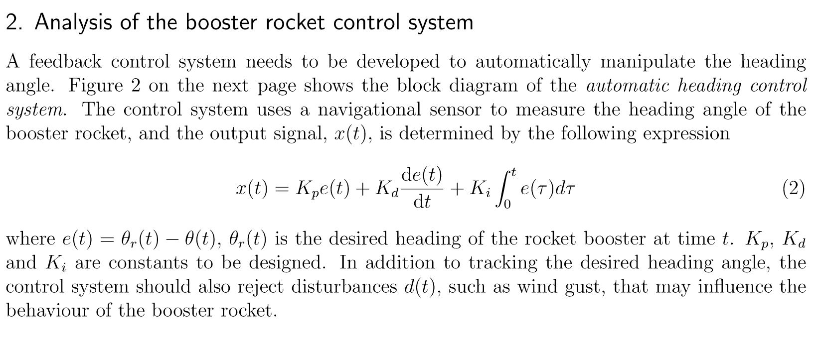 hight resolution of analysis of the booster rocket control svstem a feedback control system needs to be