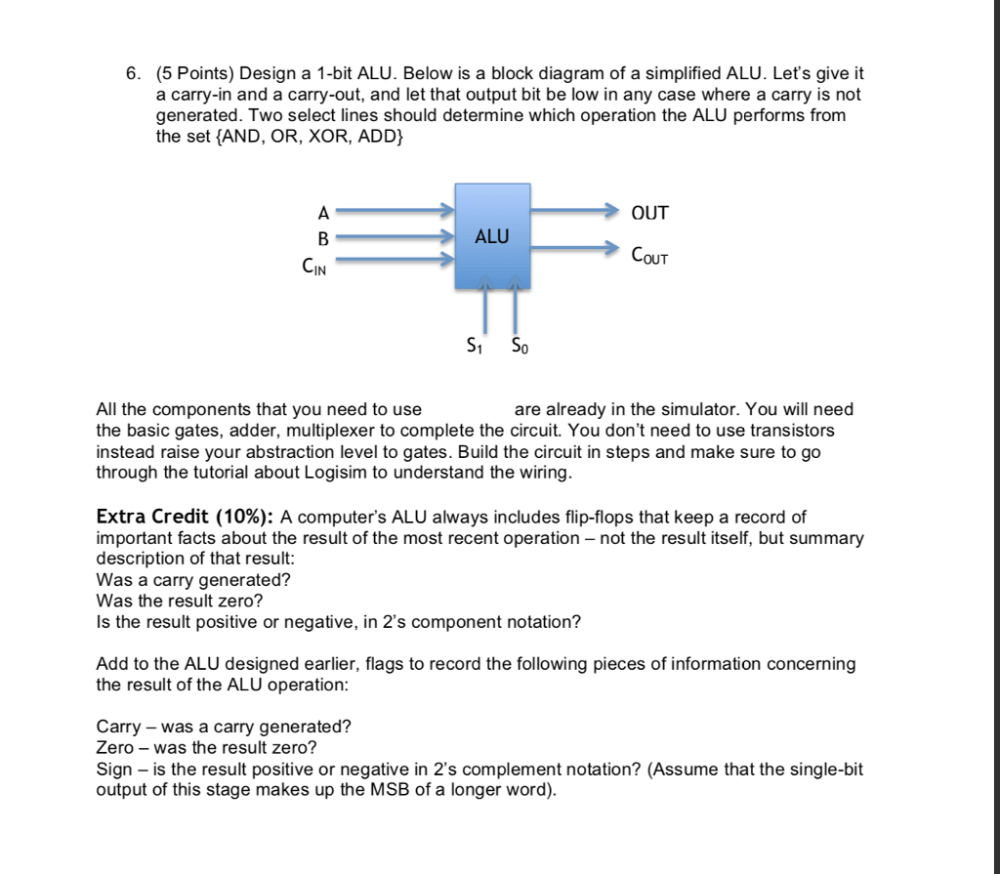 medium resolution of question 6 5 points design a 1 bit alu below is a block diagram of a simplified alu lets give it a ca